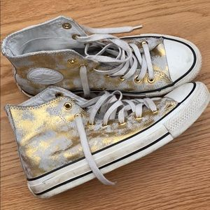 Converse gold sneakers